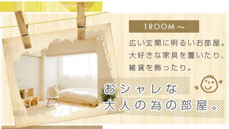 1ROOM~ 広い玄関に明るいお部屋。大好きな家具を置いたり、雑貨を飾ったり。おシャレな大人の為の部屋。